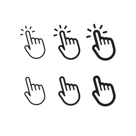 Clicking finger icon, hand pointer vector Illustration