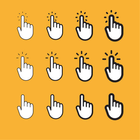 Hand pointer, clicking icon, linear vector Illustration