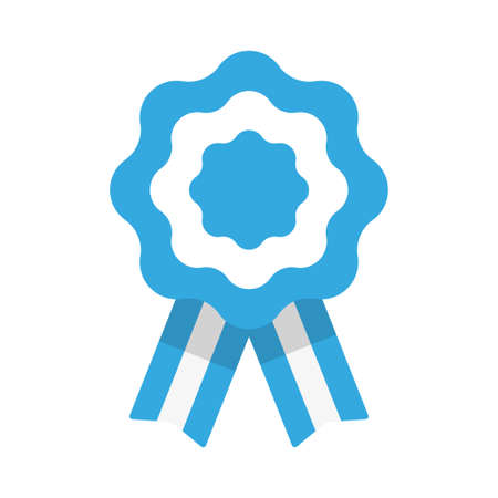 Badge with ribbons, rosette, Argentina flag, vector illustration 向量圖像
