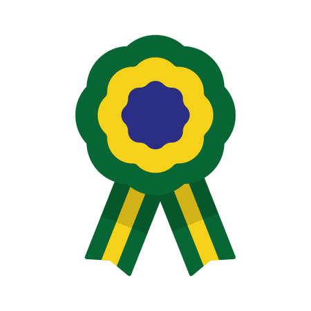 Escarapela, roseta con cinta, ilustración vectorial, bandera brasileña