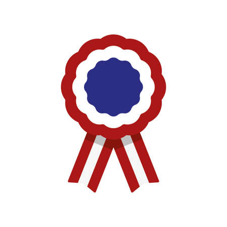 Cockade, rosette with ribbon, vector illustration, red, white and blue, united states flag Ilustración de vector