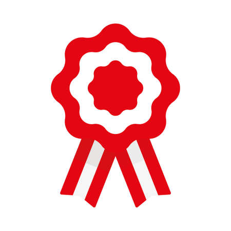 Cockade, rosette with ribbon, vector illustration, flag of Peru Vectores