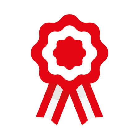 Escarapela, roseta con cinta, ilustración vectorial, bandera de Perú