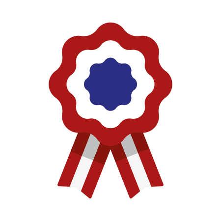Escarapela, roseta con cinta, ilustración vectorial, rojo, blanco y azul, bandera de estados unidos