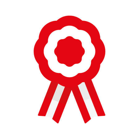 Badge with ribbons, rosette, Peruvian flag, vector illustration Ilustração