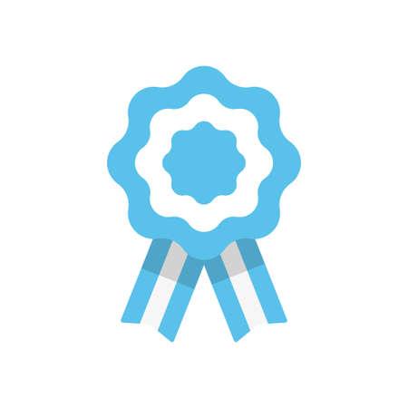 Badge with ribbons, rosette, Argentina flag, vector illustration