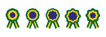 Cockade, rosette with ribbon, vector illustration, brazilian flag Vectores
