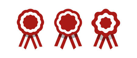 Badge with ribbons, rosette, Peruvian flag, vector illustration