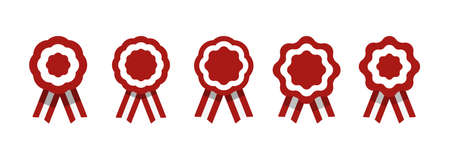 Badge with ribbons, rosette, Peruvian flag, vector illustration Vectores
