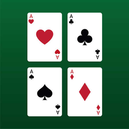 Vector illustration Playing Poker Cards. Four aces. Standard-Bild - 115043096