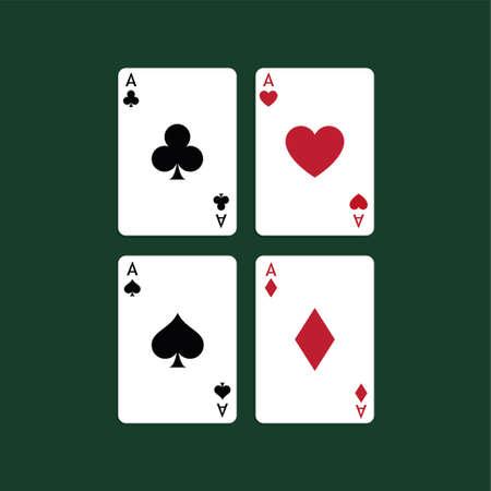 Ilustración vectorial Jugando a las cartas de póquer. Cuatro ases. Ilustración de vector