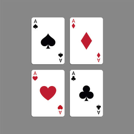 Vector illustration Playing Poker Cards. Four aces.