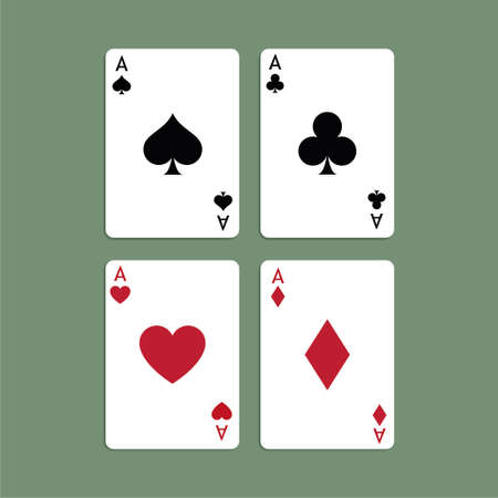 Aces Playing Cards. Set of vector poker blackjack aces. Standard-Bild - 115043118