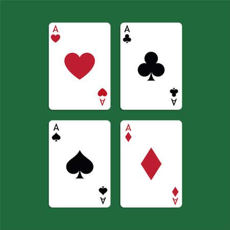 Aces Playing Cards. Set of vector poker blackjack aces. Standard-Bild - 115043120