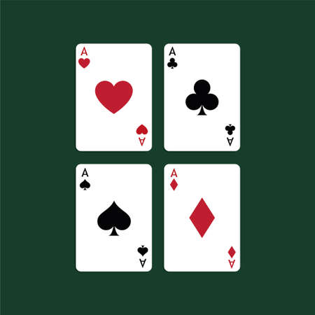 Aces Playing Cards. Set of vector poker blackjack aces. Illustration