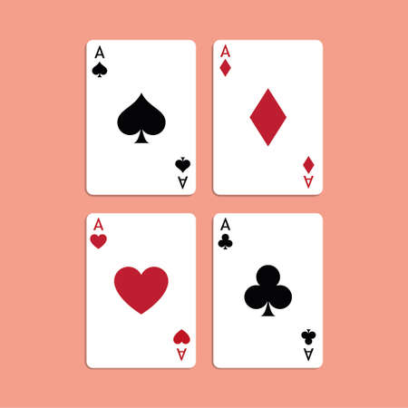 Vector illustration Playing Poker Cards. Four aces. Standard-Bild - 115043136