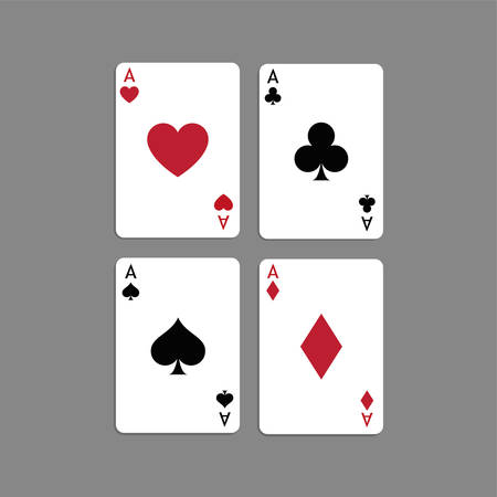Aces Playing Cards. Set of vector poker blackjack aces. Illusztráció