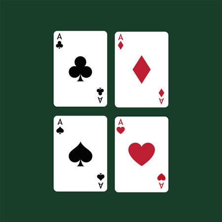 Vector illustration Playing Poker Cards. Four aces. Foto de archivo - 115043161