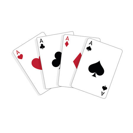 Set of four aces, vector playing cards, casino gambling Foto de archivo - 115024777