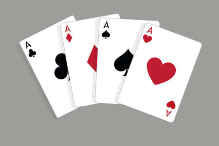 Set of four aces, vector playing cards, casino gambling Illustration