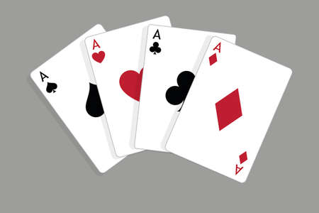Set of four aces, vector playing cards, casino gambling Standard-Bild - 115024780