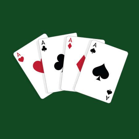 Four aces, casino poker cards