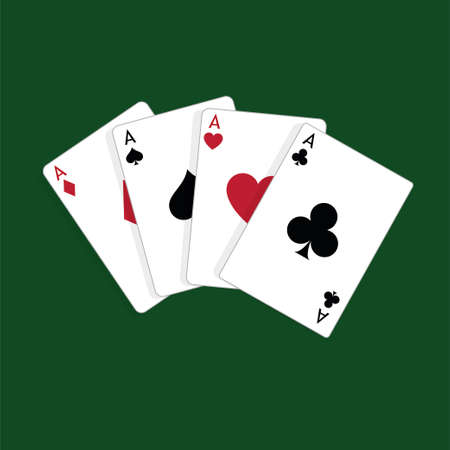 Four aces playing cards, poker winner hand