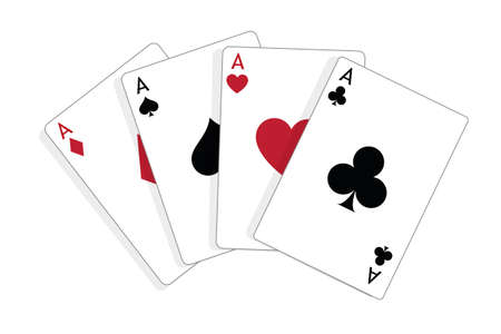 Set of four aces, vector playing cards, casino gambling Standard-Bild - 115024785