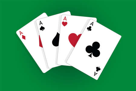 Set of four aces, vector playing cards, casino gambling Standard-Bild - 115024787