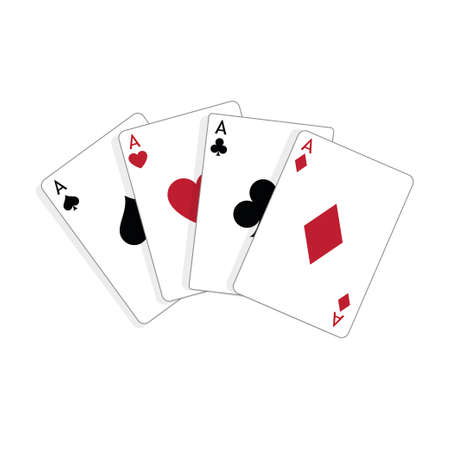 Set of four aces, vector playing cards, casino gambling Standard-Bild - 115024788