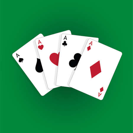 Set of four aces, vector playing cards, casino gambling Standard-Bild - 115024795