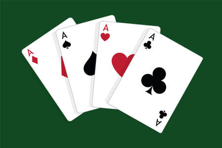 Set of four aces, vector playing cards, casino gambling Standard-Bild - 115024799