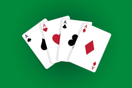 Four aces playing cards, poker winner hand Standard-Bild - 115024800
