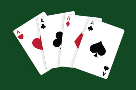 Set of four aces, vector playing cards, casino gambling Foto de archivo - 115024802