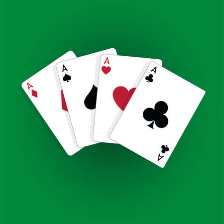 Four aces playing cards, poker winner hand Standard-Bild - 115024803