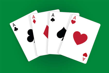 Set of four aces, vector playing cards, casino gambling Çizim