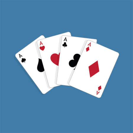 Set of four aces, vector playing cards, casino gambling Foto de archivo - 115024808