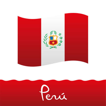 Peruvian flag, red and white, with shield