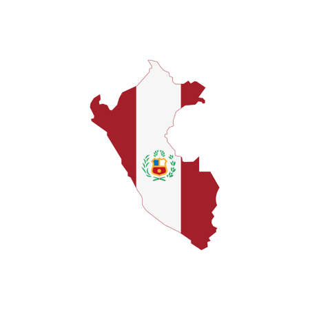 Peruvian map with flag, national symbol of Peru Illustration