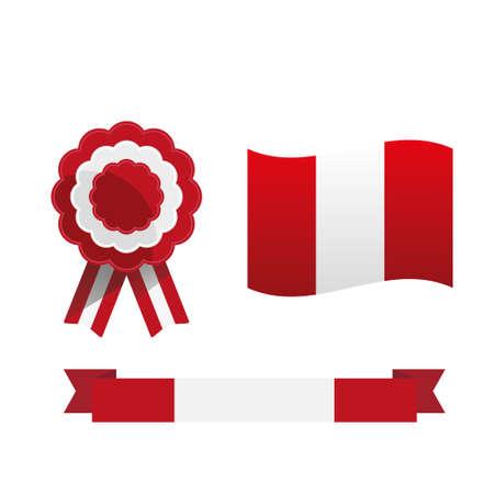 Escarapela y bandera del Perú, símbolos nacionales peruanos Ilustración de vector