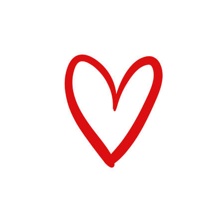 Hand drawn heart, symbol of love, expressive linear vector