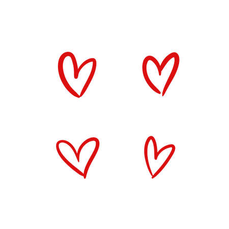 Hearts handmade illustrations, hand drawn heart vector set