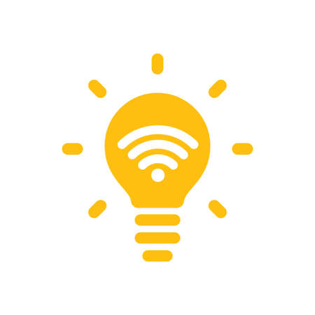 Li-fi connection. Future of wireless connection, light fidelity. Vector icon.
