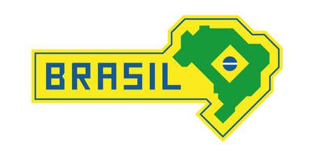 Brazilian map with flag, flat design vector illustration, national symbol of Brazil Banque d'images - 111839337