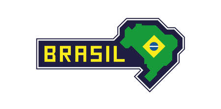 Brazil map and flag Banque d'images - 107696987