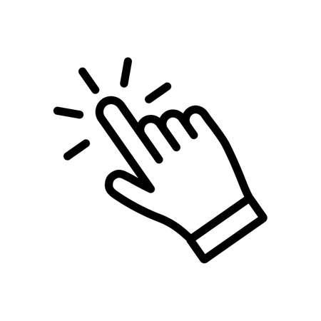 Icône de clic de main, vecteur isolé de pointeur de doigt Vecteurs