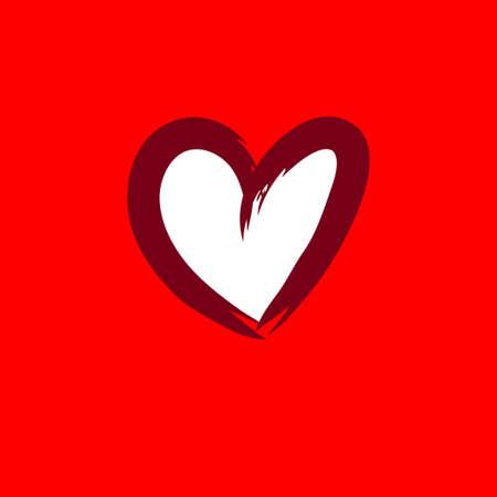 Heart handmade illustration, love symbol vector