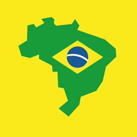 Map of Brazil with flag, brazilian national symbols Banque d'images - 107706187