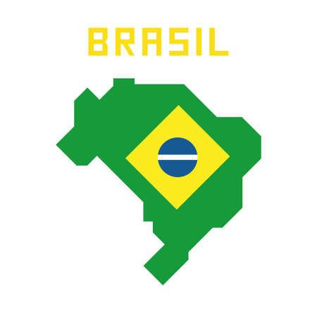Map of Brazil with flag, Brasil symbols in simplified geometric design, flat design vector illustration Banque d'images - 110506302