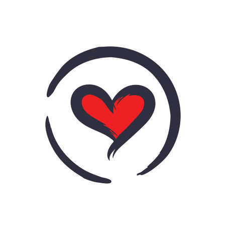 Brushed heart illustration, love symbol, isolated vector for designs